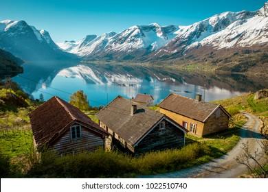 Idyllic nature of Norway in springtime