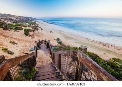 The idyllic Number Sixteen Beach at sunrise in Rye, Victoria, Australia