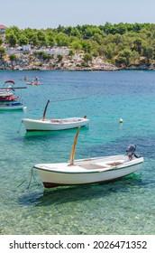 Idyllic Osibova bay with rocky beach nearby Milna on the west coast of Brac island in Croatia