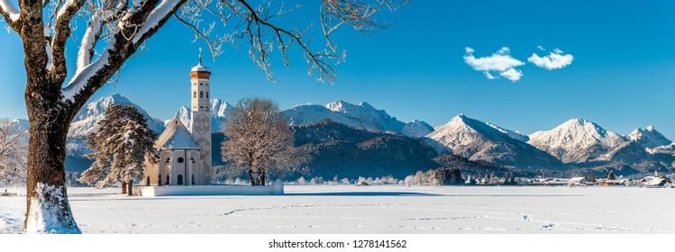 idyllic panorama landscape in Bavaria at winter