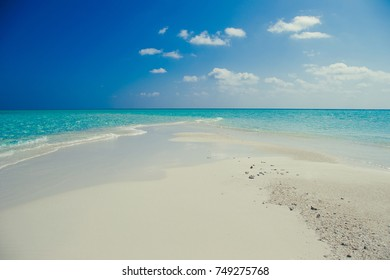 Idyllic paradise landscape. Exotic tropical beach. Summer vacation, popular destination, luxury resort, tourism concept. Travel to Maldives. Seascape with white sand, turquoise water. Holiday island