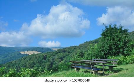 idyllic Picnic area and Viewpoint in Westerwald,Rhineland-Palatinate,Germany