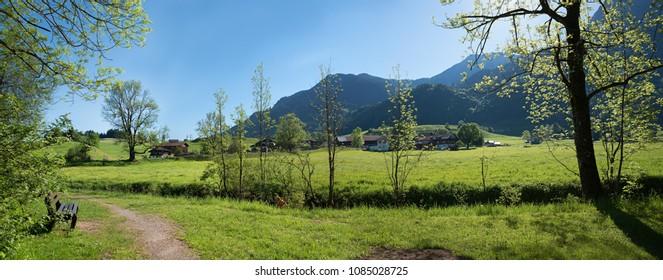 idyllic recreational place with bench near tourist destination rubi village, allgau landscape oberstdorf