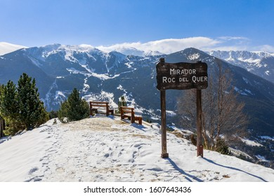 Idyllic relax viewpoint and winter snow landscape view in Mirador Roc del Quer, Andorra, Pyrenees mountains, South Europe. Andorra is famous tourist travel destination for skiing and winter rest