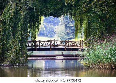 Idyllic romantic little wooden bridge covered with green vegetation, De Haar Castle in the Netherlands. Old bridge with bird underneath.