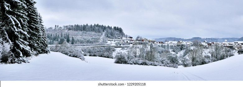 "Idyllic rural life in the middle of winter. The city of ""Mühlheim an der Donau"" is located directly at the gate to the romantic Danube Valley, Germany"