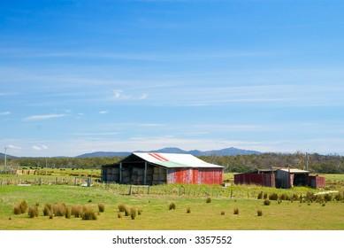 Idyllic Rural Scene with Old Red Barn, Tasmania, Australia
