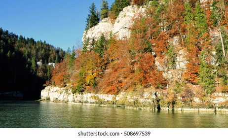 idyllic rural scenery with  mountain forest and  river ,jura ,France ,nature concept .vintage effect