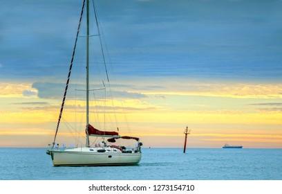 Idyllic Sailing Across Mediterranean Blue Sea
