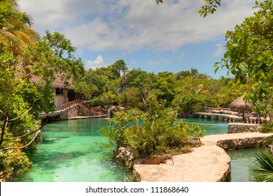 Idyllic scenery of Caribbean Mayan jungle of Mexico
