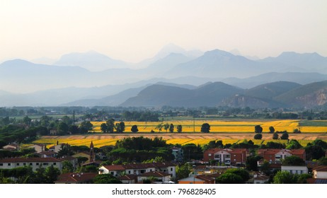 Idyllic and scenic landscape of the city periphery - town outskirts, fields, forest, hills and mountains in the distance - Pisa, Tuscany, Italy; tourism, travel, vacation; background.