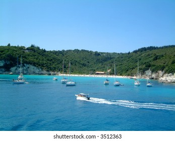 The Idyllic setting of Voutoumi Bay on Anti Paxos, Greece