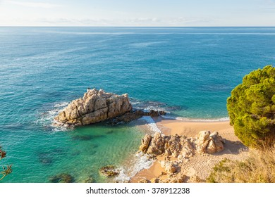 Idyllic solitary beach at a turquoise sea.