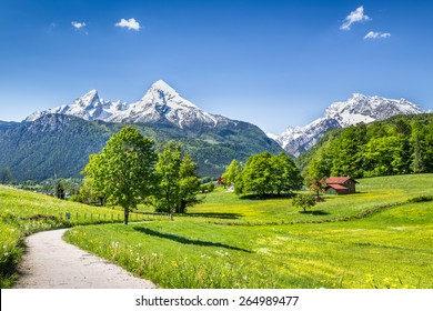 Idyllic summer landscape in the Alps, Nationalpark Berchtesgadener Land, Bavaria, Germany