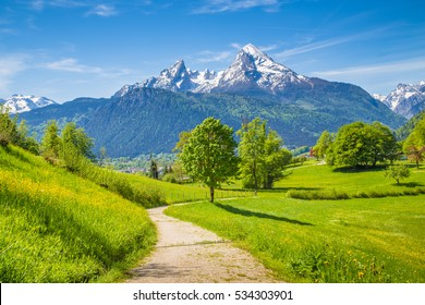 Idyllic summer landscape with hiking trail in the Alps with beautiful fresh green mountain pastures and snow-capped mountain tops in the background, Nationalpark Berchtesgadener Land, Bavaria, Germany