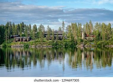 Idyllic summer landscape in Tahko Event Park. Lake Syvärijärvi in Nilsiä, Kuopio, Finland.