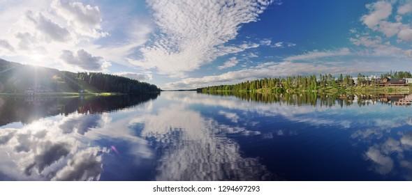 Idyllic summer panorama landscape in Tahko Event Park. Lake Syvärijärvi in Nilsiä, Kuopio, Finland