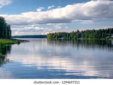 Idyllic summer scene in Tahko Event Park. Lake Syvärijärvi in Nilsiä, Kuopio, Finland.