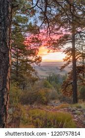Idyllic sunrise from mountain ridge