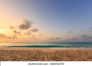 Idyllic sunset over ocean at Sal, Cabo Verde Cape Verde
