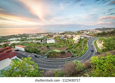 Idyllic sunset panorama view of northern Tenerife