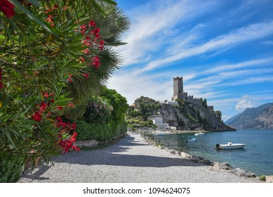 idyllic tourist destination malcesine. lakeside promenade with red oleander and view to scaliger castle. garda lake italy.