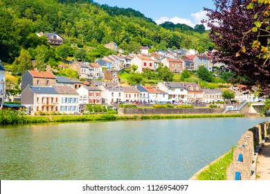 Idyllic town Monthermé in French Ardennes, river Meuse, Region Grand Est, Champagne-Ardenne, France