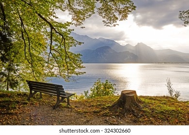 idyllic tranquil place, golden october at the lakeside walchensee, upper bavaria