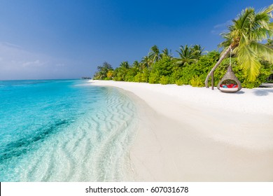 Idyllic tropical beach landscape for background or wallpaper. Design of tourism for summer vacation holiday destination concept.