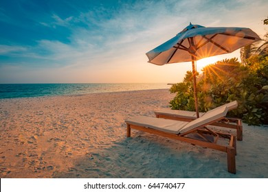 Idyllic tropical beach landscape for background or wallpaper. Design of summer vacation holiday concept.