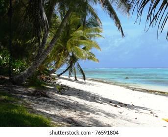 Idyllic tropical beach on Rarotonga, Cook Islands