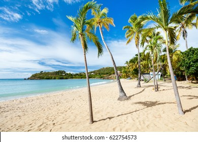 Idyllic tropical Carlisle bay beach with white sand, turquoise ocean water and blue sky at Antigua island in Caribbean