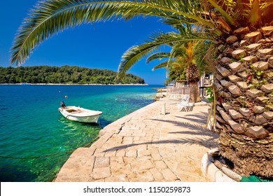 Idyllic turquoise stone beach in Cavtat, Adriatic sea, Dalmatia region of Croatia