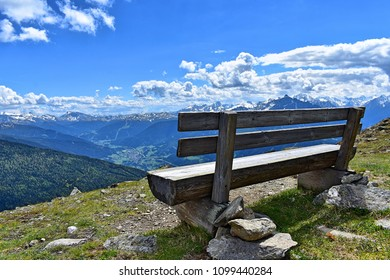 Idyllic view from a bench in The Alps near Innsbruck, Austria