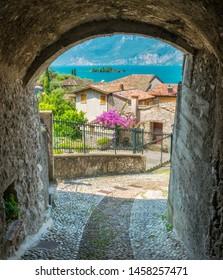 Idyllic view at Cassone di Malcesine, beautiful village on Lake Garda. Veneto, Province of Verona, Italy.