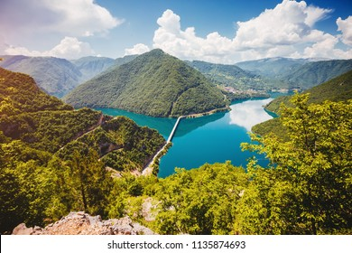 Idyllic view of great canyon of river Piva. Location place National park Durmitor, Pluzine town, Montenegro, Balkans, Europe. Scenic image of popular travel destination. Discover the beauty of earth.