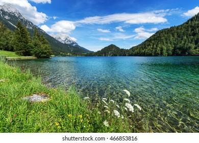Idyllic view of mountain lake. Hintersteiner Lake, Tyrol, Austria.