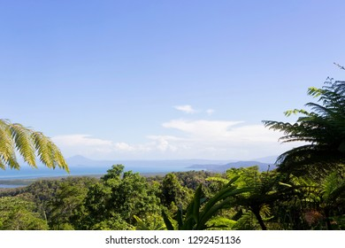 Idyllic view from Mt Alexandra Lookout to the coast and The Daintree River in Tropical North Queensland, Australia