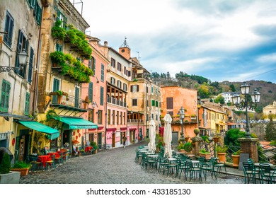 Idyllic view of Nemi, old village on the Alban hills in Rome Province, Lazio