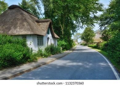 idyllic Village of Wasserkoog on Eiderstedt Peninsula near Tetenbuell,North Frisia,Germany