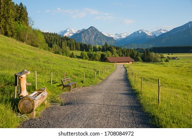 idyllic walkway allgau area, from rubi to oberstdorf, spring landscape upper bavaria