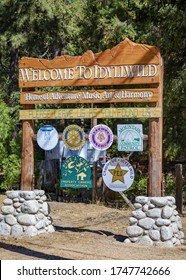 Idyllwild, CA / USA - October 6, 2019: The Welcome to Idyllwild sign in the town in San Jacinto Mounains,