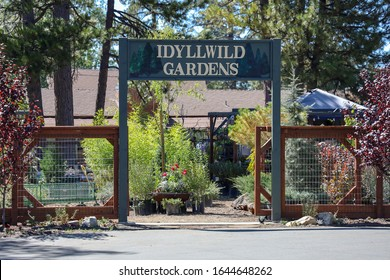 Idyllwild, California / USA - October 5, 2019: The Idyllwild Gardens sign at the entrance.