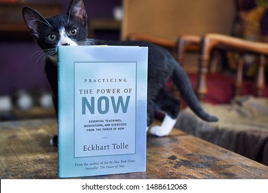 Idyllwild, CA/USA - 08/16/2019: The Power of Now Book by Eckhart Tolle