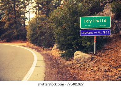 Idyllwild City Limits Road Sign. Village of Idyllwild in the San Jacinto Mountains in Riverside County, California, United States