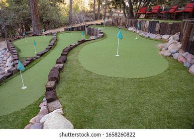 Idyllwild-Pine Cove, CA / USA  - October 5, 2019: Picture of the 9 hole putting green at the Grand Idyllwild Lodge in Idyllwild, California.
