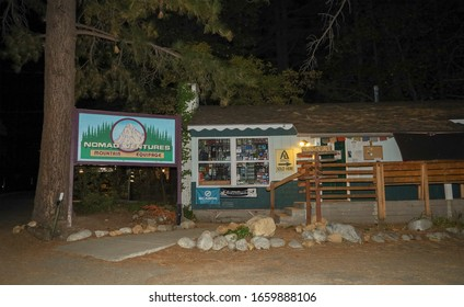 Idyllwild-Pine Cove, CA / USA  - October 5, 2019: The Nomad Ventures mountain equipage store front and sign  in Idyllwild, California.