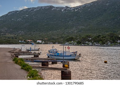 IERAKAS, GREECE - FEBRUARY 2019: Beautiful landscape at Ierakas, a picturesque fishing village in Laconia. The village is also known as the Greek natural Fjord due to the geomorphology of the place.