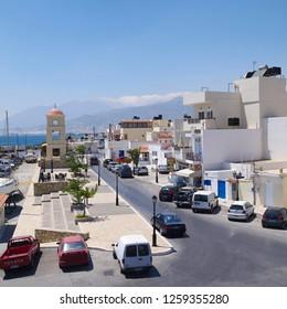 IERAPETRA, CRETE - SEPTEMBER 2012: Ierapetra summer cityscape at Crete island, Greece.