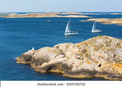 iew of rocky archipelago with sailboats on the Swedish west coast